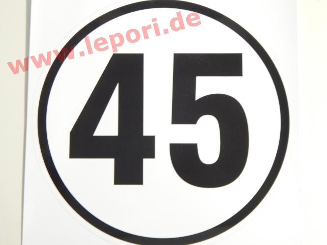 45 km/h-Schild - Aufkleber